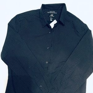 Men's H&M NWT polka dot long sleeve navy button up